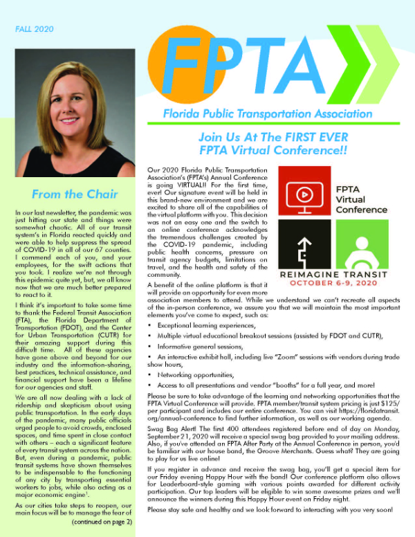 FPTA Sept 2020 Newsletter cover